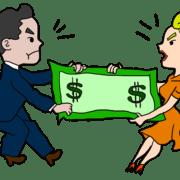 Divorced couple fighting over dollar bills